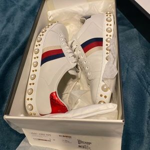 Gucci Pearl Studded Ace Sneakers